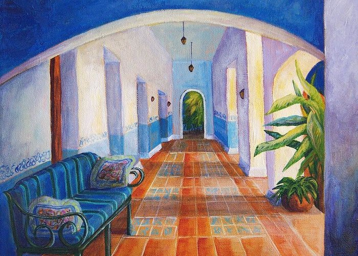 Interior Greeting Card featuring the painting Merida Morning by Candy Mayer