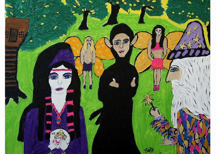Merlin Wizard Fantasy Greeting Card featuring the painting Merlin The Wizard by Betty Roberts