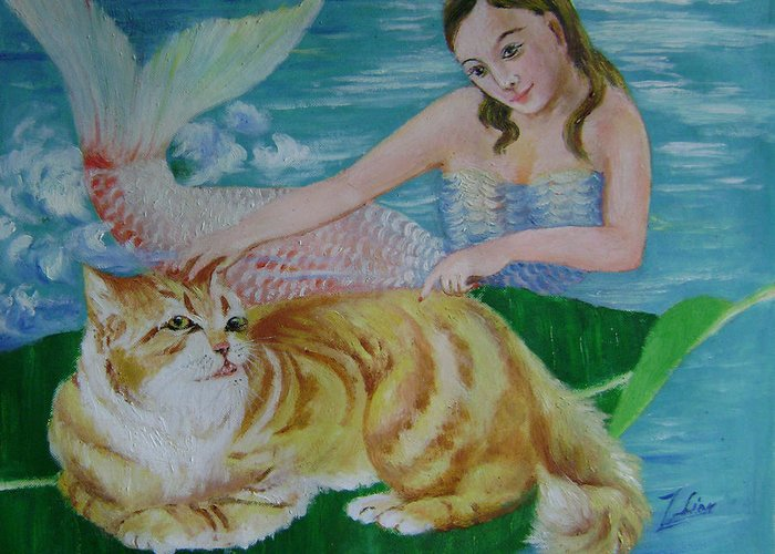 Fantasy Greeting Card featuring the painting Mermaid And Cat by Lian Zhen