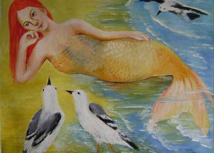 Fantasy Greeting Card featuring the painting Mermaid And Seagulls by Lian Zhen