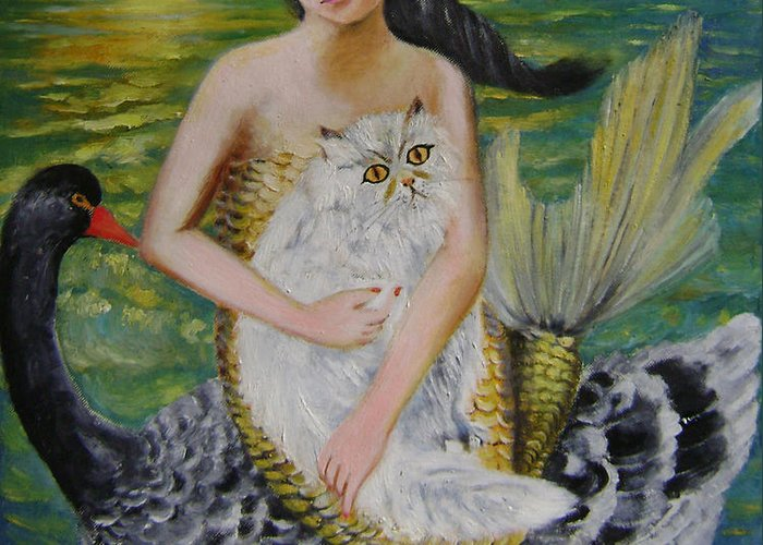 Surrealist Greeting Card featuring the painting Mermaid And Swan by Lian Zhen