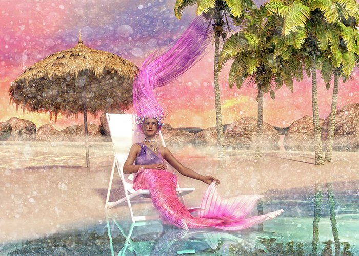Mermaid Greeting Card featuring the digital art Mermaid By The Sea by Betsy Knapp