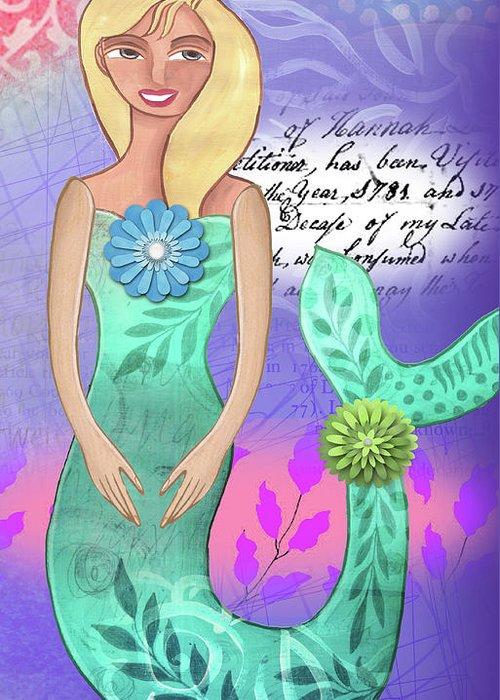 Mermaid Greeting Card featuring the mixed media Mermaid Dream 2 by Elaine Jackson