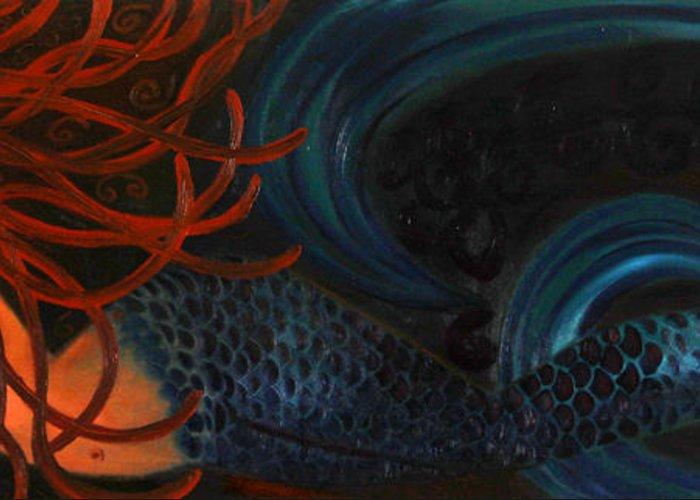 Mermaids Artwork Greeting Card featuring the painting Mermaid Katheryn  by Helen Gerro