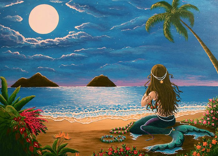 Tropical Greeting Card featuring the painting Mermaid Making Leis by Gale Taylor
