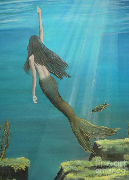 Mermaid Greeting Card featuring the painting Mermaid Of Weeki Wachee by Kris Crollard