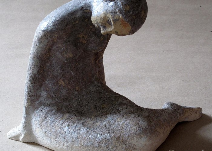 Sculpture Greeting Card featuring the sculpture Mermaid by Raimonda Jatkeviciute-Kasparaviciene