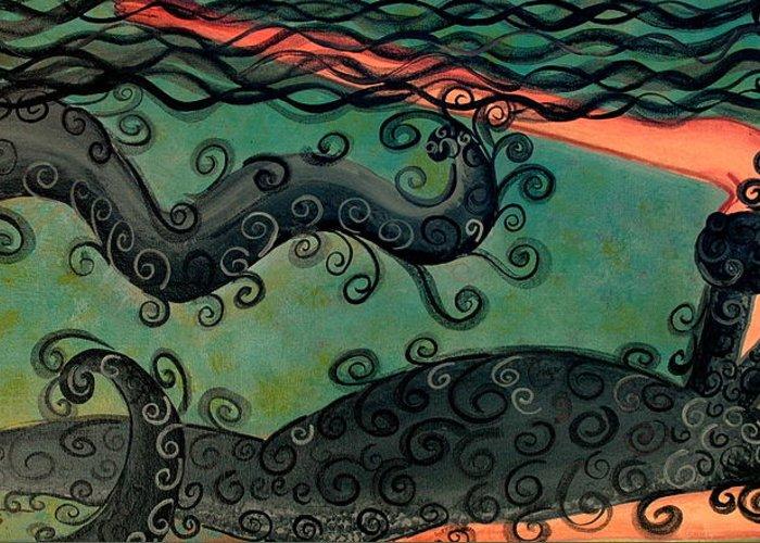 Mermaid Artwork Greeting Card featuring the painting Mermaid Under The Sea by Helen Gerro