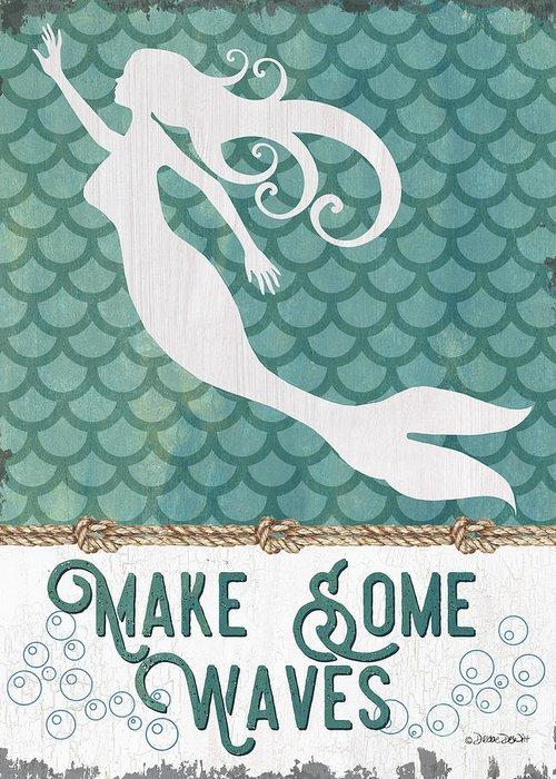 Mermaid Greeting Card featuring the painting Mermaid Waves 1 by Debbie DeWitt