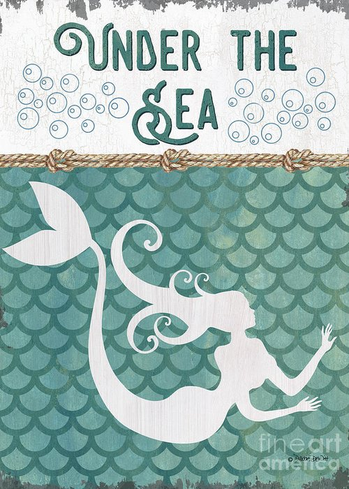 Mermaid Greeting Card featuring the painting Mermaid Waves 2 by Debbie DeWitt