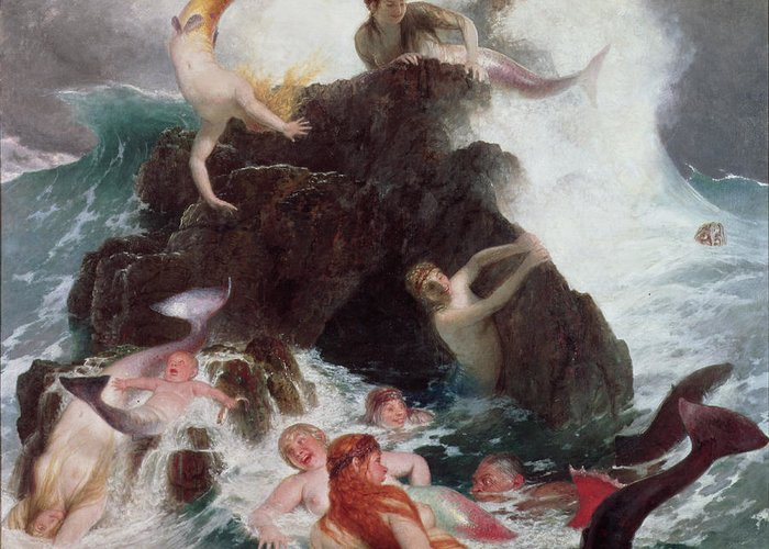 Mermaid; Sirens; Siren; Water Baby; Frolicking; Fun; Ocean; Rocks; Leaping; Jumping Greeting Card featuring the painting Mermaids At Play by Arnold Bocklin