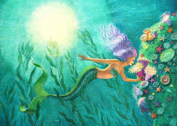 Mermaid Art Greeting Card featuring the painting Mermaid's Garden by Sue Halstenberg