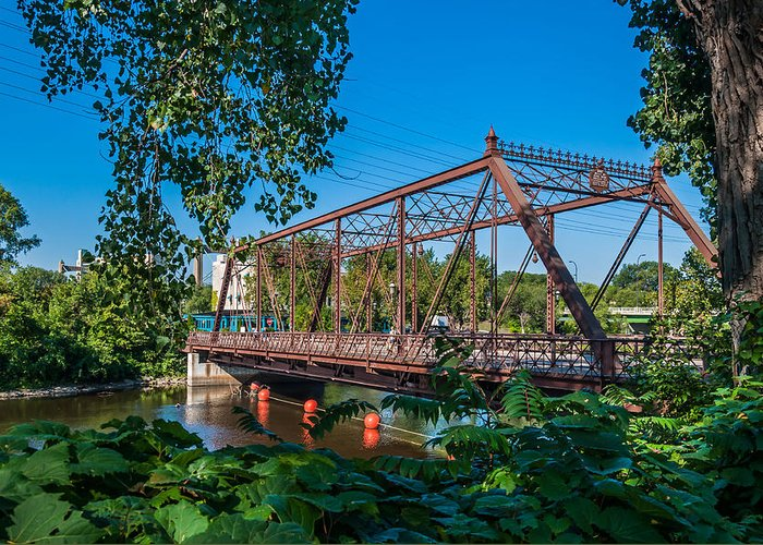 Merriam Street Bridge; Bridge; St. Anthony Riverplace; Minneapolis Greeting Card featuring the photograph Merriam Street Bridge by Lonnie Paulson