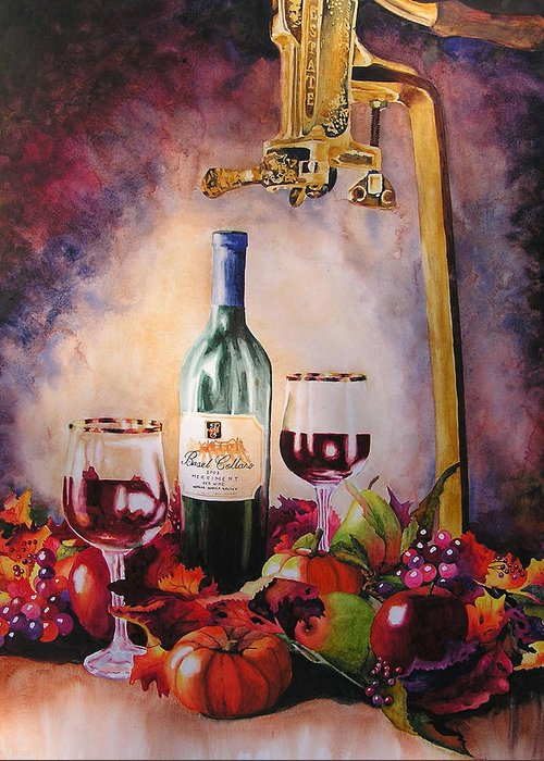 Wine Greeting Card featuring the painting Merriment by Karen Stark