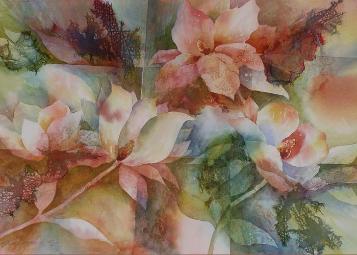 Flower Greeting Card featuring the painting Merry Magnolias by Tara Moorman