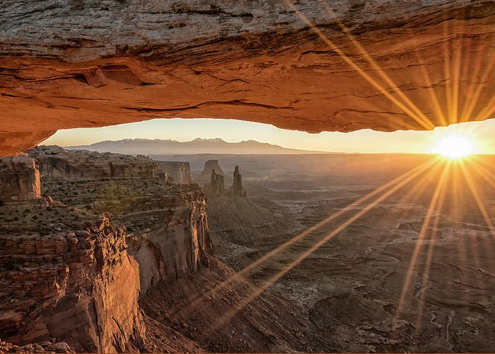 Mesa Arch Sunrise Canyonlands National Park Moab Utah Greeting Card featuring the photograph Mesa Arch Sunrise 4 - Canyonlands National Park - Moab Utah by Brian Harig