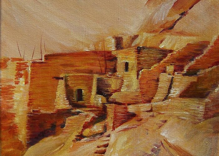 Indian Greeting Card featuring the painting Mesa Verde by Summer Celeste