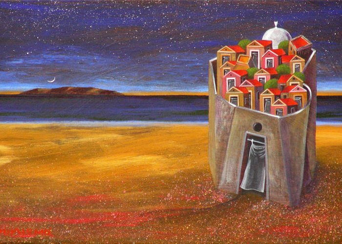 Superrealism Greeting Card featuring the painting Mesi Castle Village by Dimitris Milionis