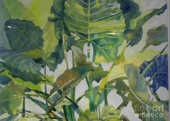 Green Greeting Card featuring the painting Mess Of Greens by Elizabeth Carr