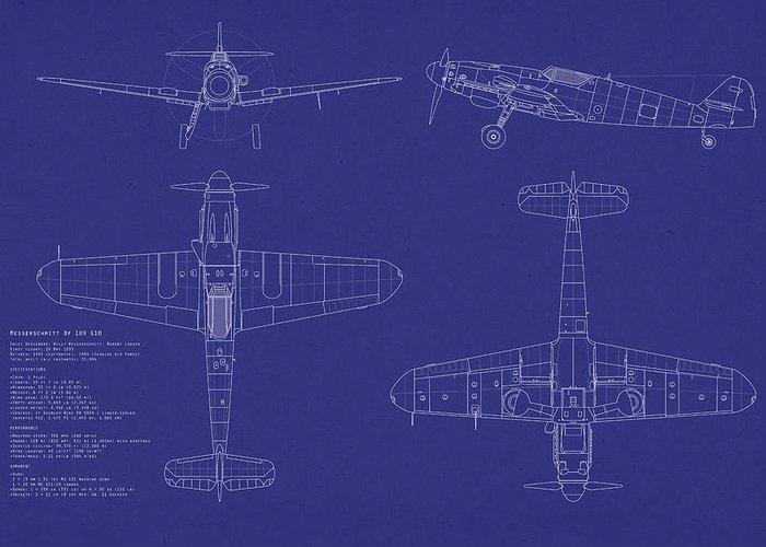 Messerschmitt Greeting Card featuring the digital art Messerschmitt Me109 by Michael Tompsett
