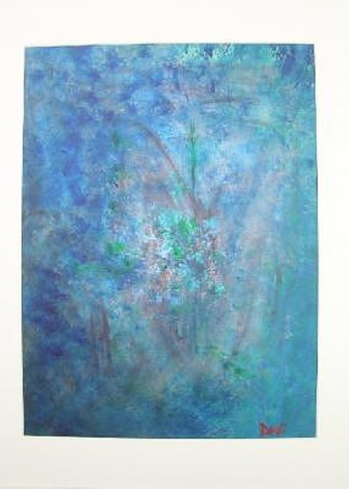 Metal Greeting Card featuring the painting Metal And Water Abstract. by Lizzy Forrester