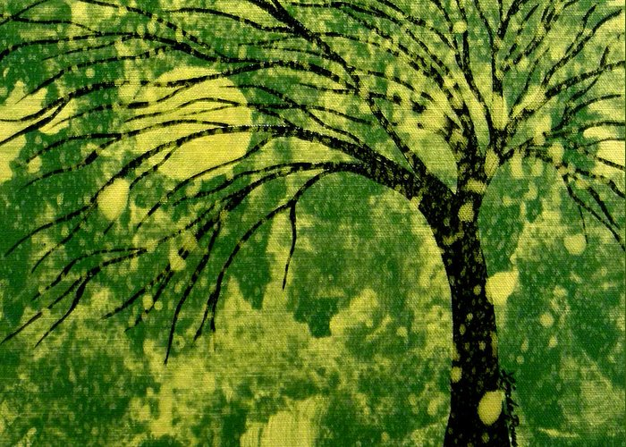 Tree Greeting Card featuring the painting Metallic Moon by Linda Powell