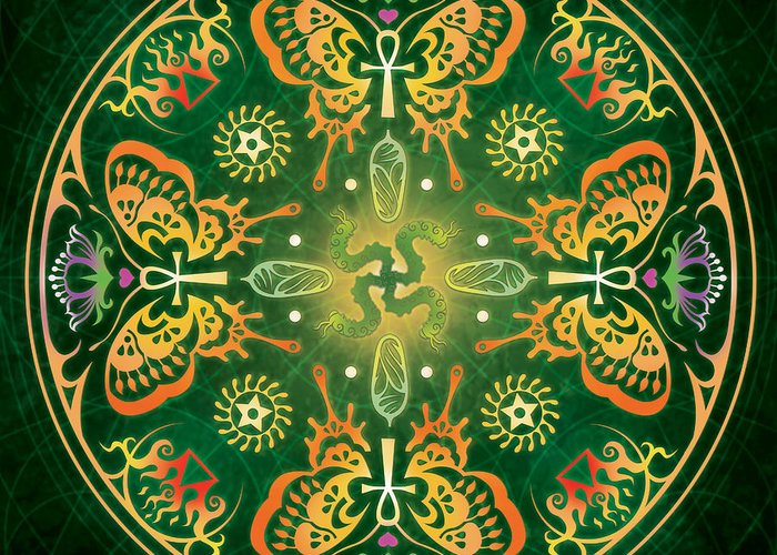 Butterfly Greeting Card featuring the digital art Metamorphosis Mandala by Cristina McAllister