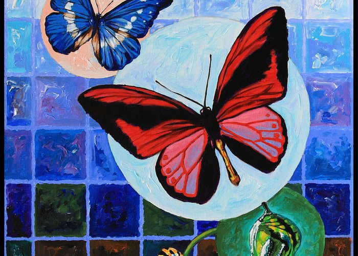 Butterflies Greeting Card featuring the painting Metamorphosis Of The New Life by John Lautermilch