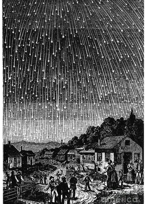 1833 Greeting Card featuring the photograph Meteor Shower, 1833 by Granger