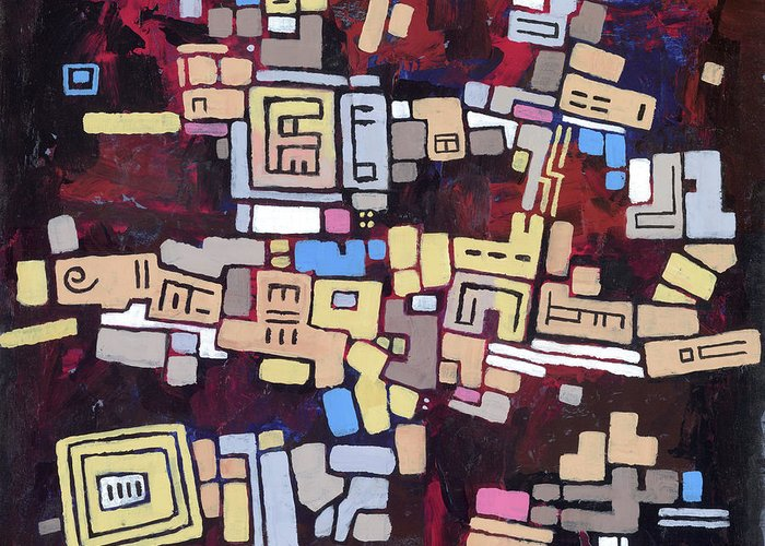 Abstract Greeting Card featuring the painting Mexica by Douglas Simonson