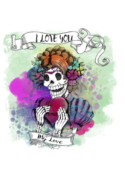 Mexican day of the dead i love you greeting card for sale by cynthia day of the dead greeting card featuring the digital art mexican day of the dead i m4hsunfo