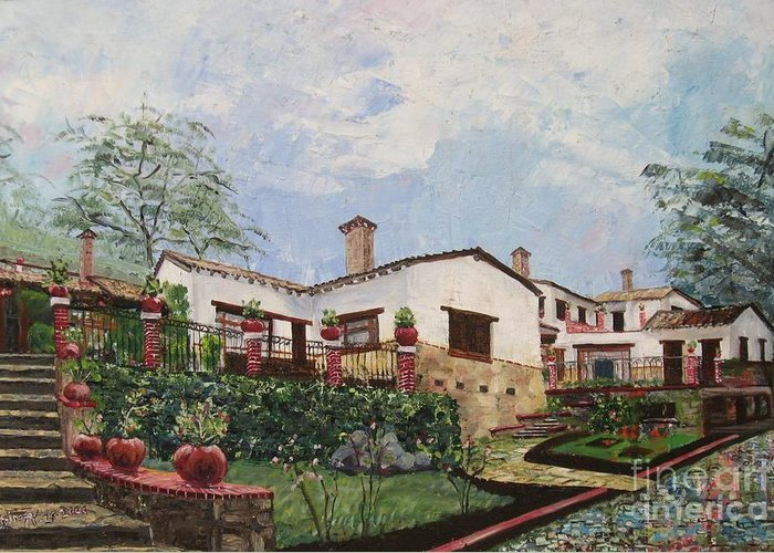 White Stucco Building Greeting Card featuring the painting Mexican Hacienda After The Rain by Judith Espinoza