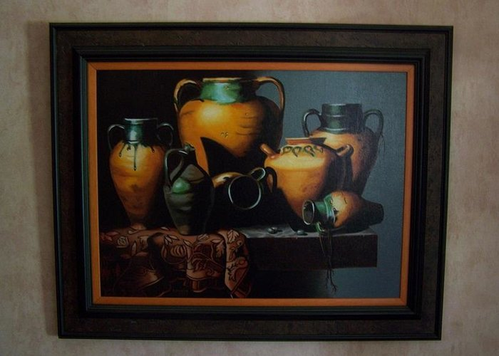 Stilllife Painting Greeting Card featuring the painting Mexican Pottery by Robert E Gebler