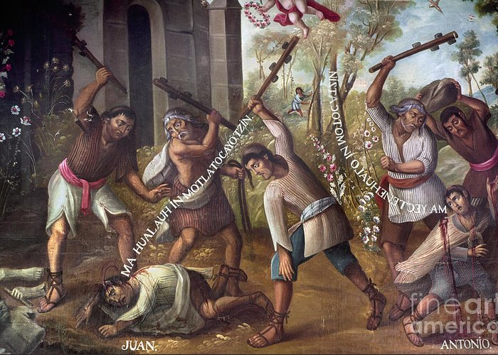 18th Century Greeting Card featuring the photograph Mexico: Christian Martyrs by Granger