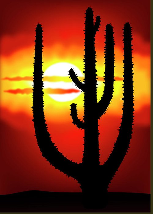 Symbol Greeting Card featuring the digital art Mexico Sunset by Michal Boubin