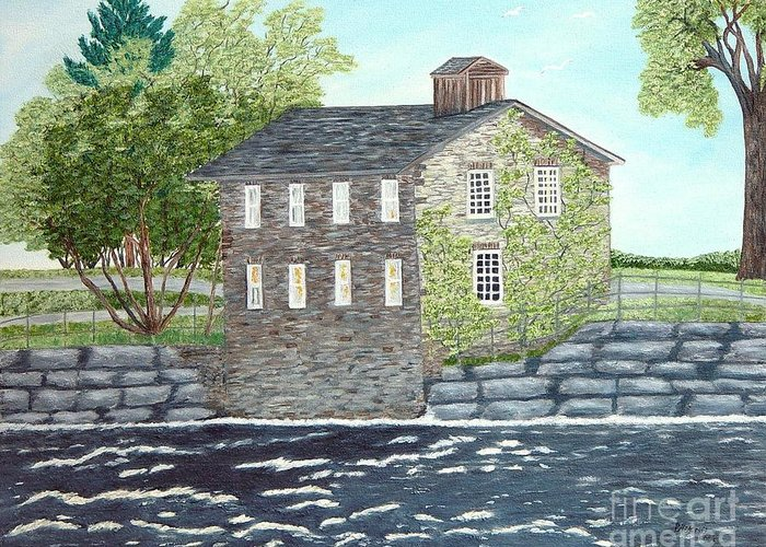 Historic Mills Painting Greeting Card featuring the painting Meyers Mill by Peggy Holcroft