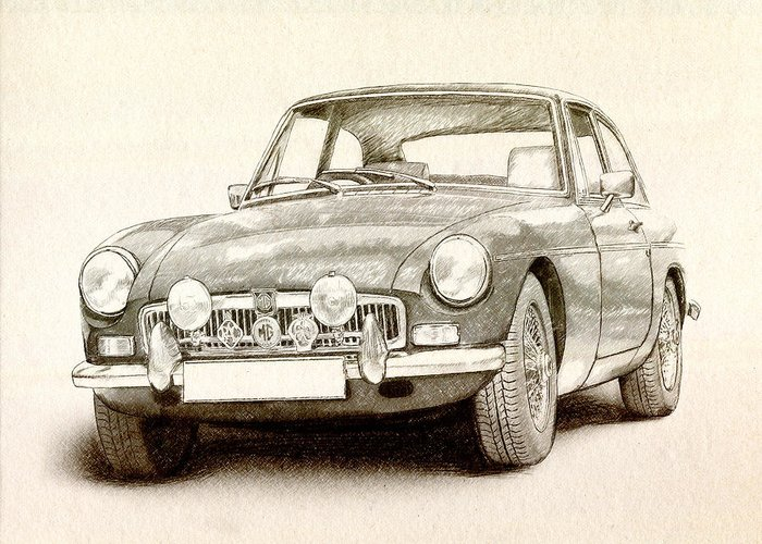 Mg Mgb Greeting Card featuring the drawing Mg Mgb Mkii by Michael Tompsett