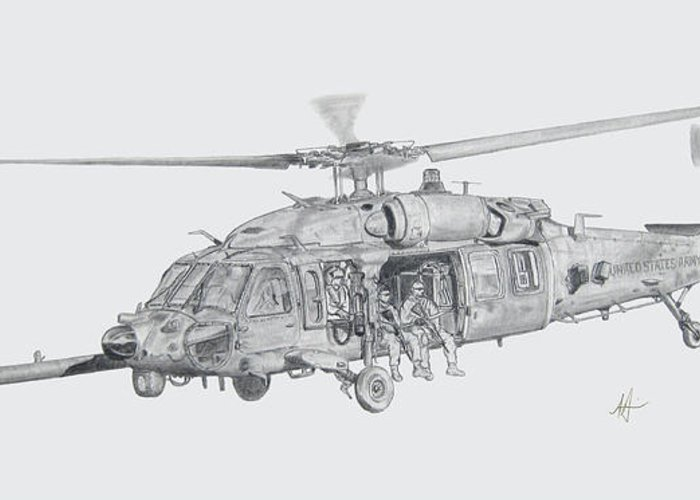 Mh-60 Greeting Card featuring the drawing Mh60 With Gun by Nicholas Linehan