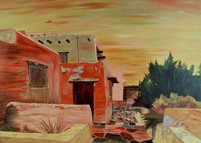 Landscape Greeting Card featuring the painting Mi Casa by Oudi Arroni