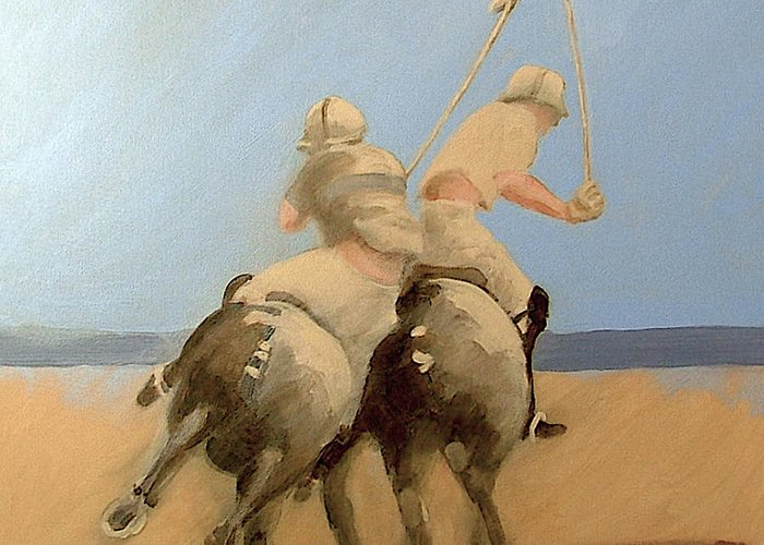 Equestrian Sports Polo Greeting Card featuring the painting Miami Beach Polo by Jea DeVoe