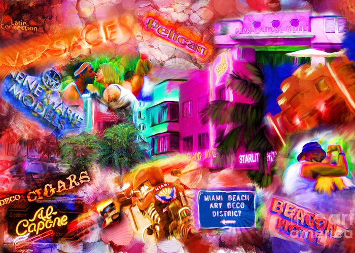 Southbeach Greeting Card featuring the mixed media Miami Deco by Marilyn Sholin