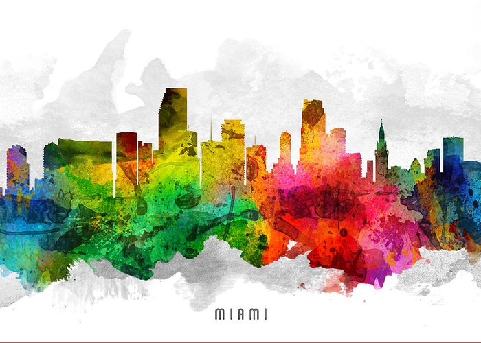 Miami Greeting Card featuring the painting Miami Florida Cityscape 12 by Aged Pixel