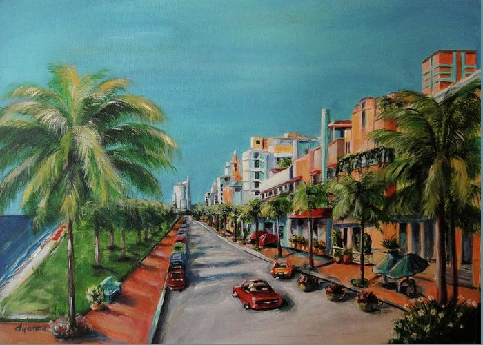 Miami Greeting Card featuring the painting Miami For Daisy by Dyanne Parker
