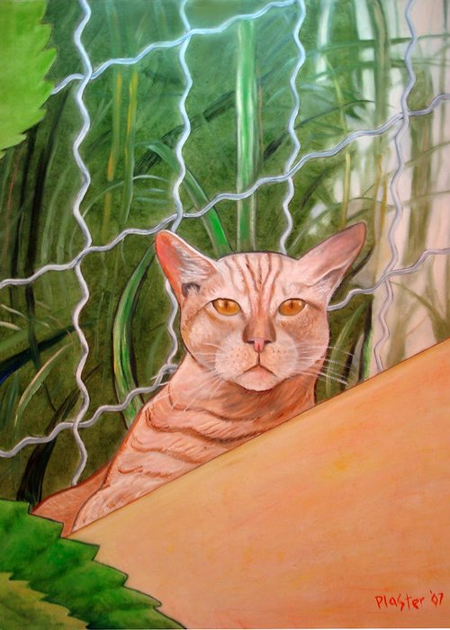 Cat Greeting Card featuring the painting Miami Lewie by Scott Plaster