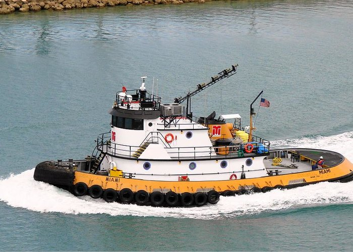 Tugboat Greeting Card featuring the photograph Miami Tug by Margaret Bobb
