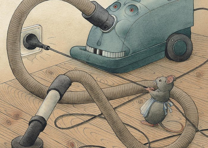 Mice Monster Vacuum-cleaner Brown Greeting Card featuring the painting Mice And Monster by Kestutis Kasparavicius