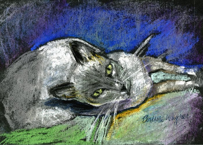 Cat Greeting Card featuring the pastel Michael Campbell by Arline Wagner