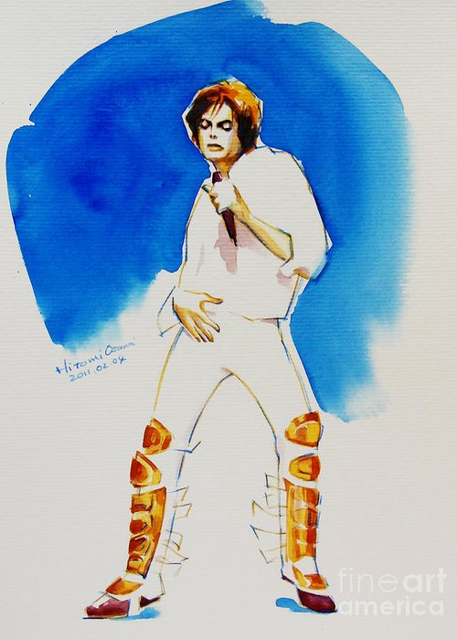 Michael Jackson Greeting Card featuring the painting Michael Jackson - 30th Anniversary by Hitomi Osanai