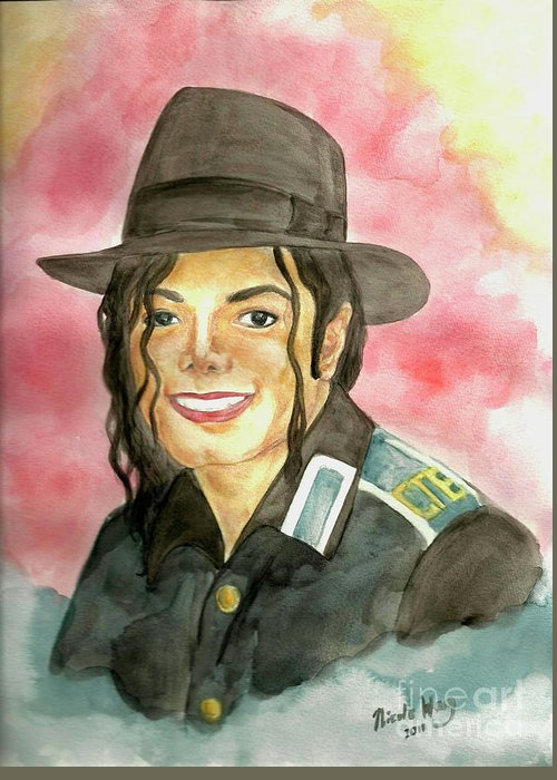Michael Jackson Greeting Card featuring the painting Michael Jackson - A Bright Smile Shining In The Sky by Nicole Wang