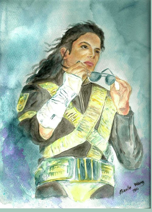 Michael Jackson Greeting Card featuring the painting Michael Jackson - Dangerous Tour by Nicole Wang